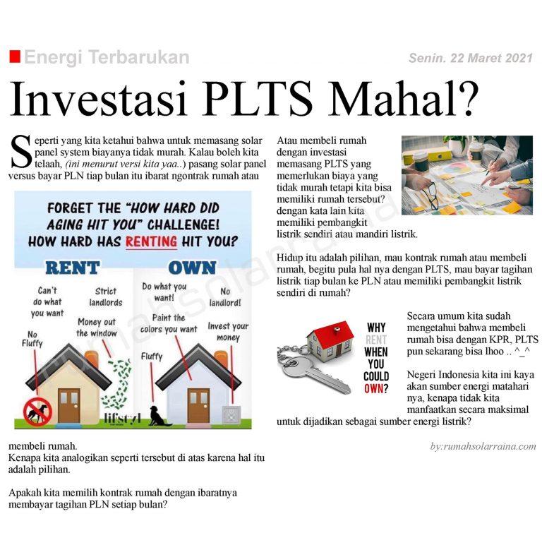 Investasi PLTS Mahal?